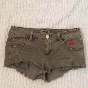 Refuge Army Green Shorts with my artwork Size 2